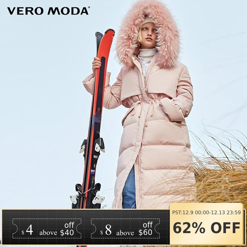 Vero Moda Raccoon Fur Hooded 90% White Duck Down Straight Thick Super Long Down Jacket Women |318412509