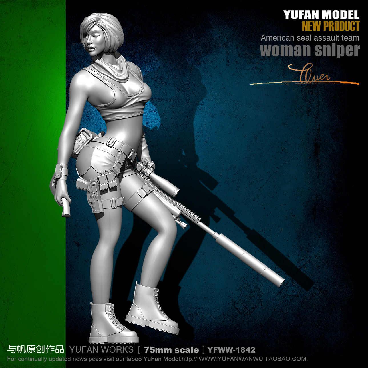 Yufan Mode 1/24 soldado modelo Sexy femenino francotirador Kit de figuras de resina 75mm incoloro y autoensamblado Yfww-1842