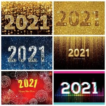 Laeacco Gold Shiny Polka Dot Light Bokeh Happy New Year Of 2021 Party Celebration Poster Photo Background Photography Backdrop