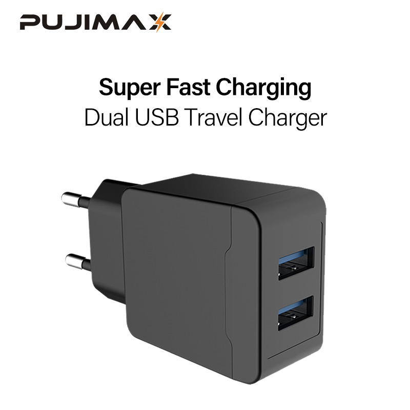 PUJIMAX USB Charger Adapter For iPhone 2 Ports 5V2.1A Wall/Travel Portable Mobile Phone Charging Samsung
