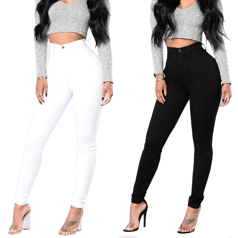 New Spring And Autumn Women's Fashion High Waist Stretch Slim Jeans Ms Black White Casual Woman Pencil Jeans