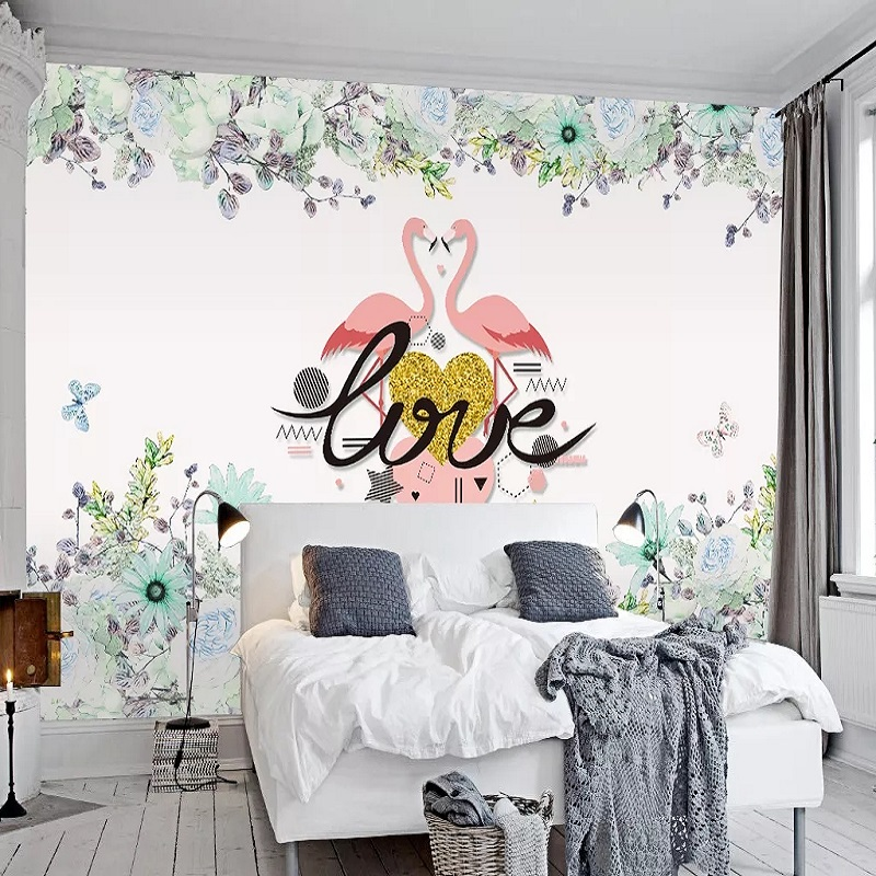 Custom Large Mural 3D Wallpaper Nordic Cartoon Fashion Creative Flamingo Child Bedroom Mural TV Back Wall Decor Deep 5D Embossed