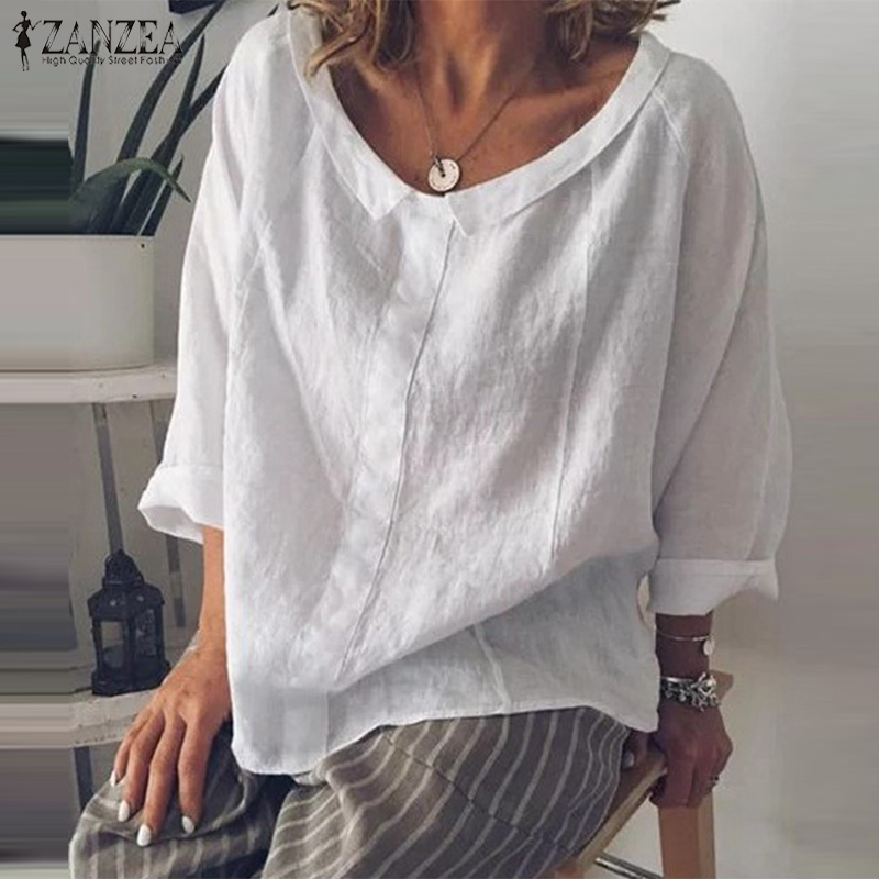 2019 ZANZEA Casual Tops Women's Summer Tunic Vintage Linen Blouse Female Lapel Work Blusas Elegant Female Long Sleeve Shirts 5XL
