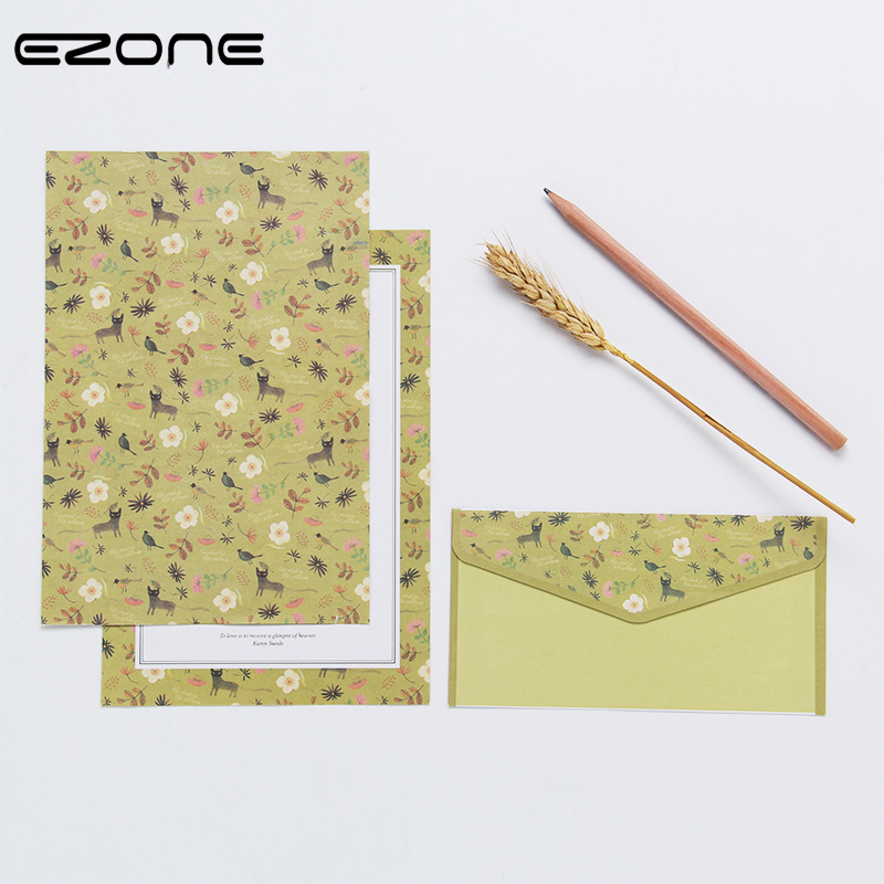 EZONE A5 6PCS Writing Paper+3PCS Envelope Sets Beautiful Flower Pattern Line Page Literary Style Stationery Paper Letter Paper