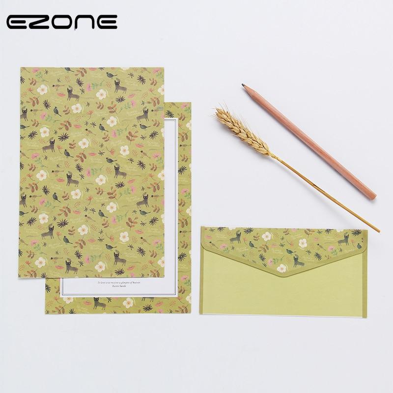 EZONE A5 6 шт. записи Бумага + 3 шт наборы конвертов с красивым цветочным узором линия страница литературный Стиль канцелярские Бумага письмо Бум...