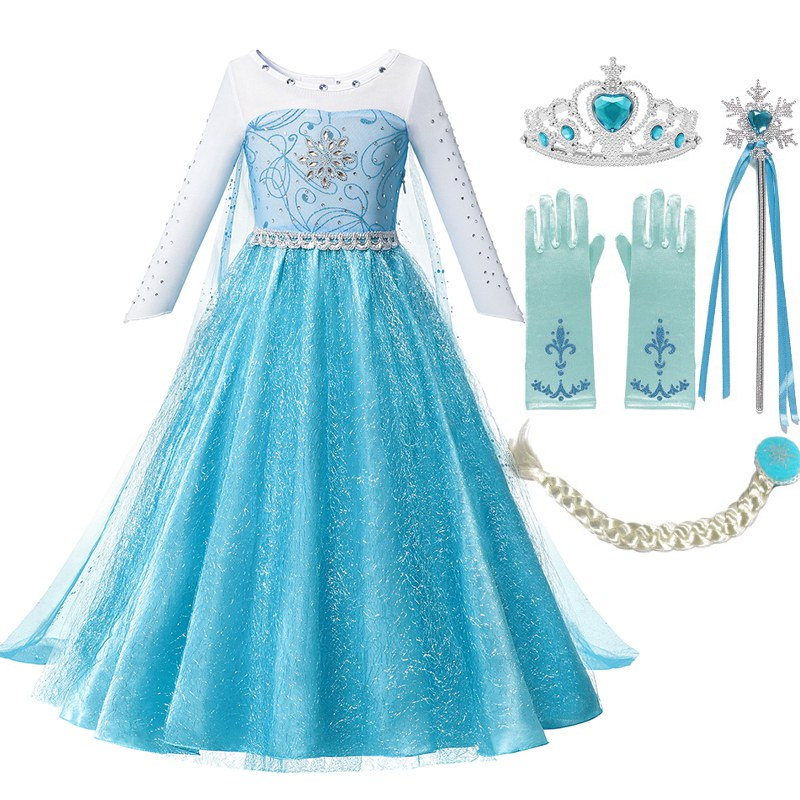 MUABABY Girls Beadings Princess Dress Fancy Elsa Costume Girl Snow Queen Halloween Birthday Party Clothes With Long Cloak Train
