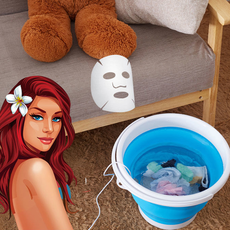 Mini Ultrasonic Turbine Washing Machine Portable Foldable Bucket Washer Cleaner For Home Travel Type USB Laundry Clothes