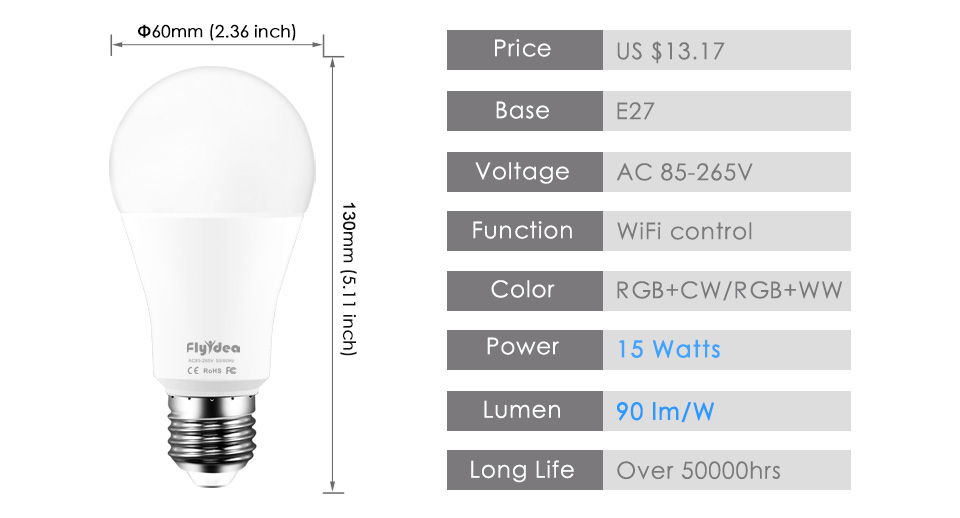 """Le Jeune moderne.Maison-Ampoule WIFI 15W E27 220V (Blanc et/ou RGB)-Ampoule 15w télécommandable en Wifi via smartphone. Fonctionne avec l'application Android """"Magic Home-Smart Home"""", Alexia et Google Home.S'installe en quelques minutes. Remplace toute ampoule avec douille E27 standard. Entrez dans l'aire de la domotique."""