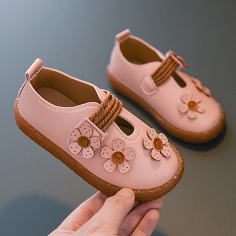 New Spring Autumn Fashion Girls Shoes Cute Flower Girls Flats Baby Shoes Little Girls Princess Shoes For Kids Girl Size 21-36