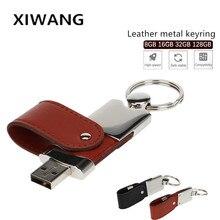 XIWANG USB flash drive 32GB Pendrive 128GB 64GB 16GB 8GB 4GB Leather metal keyring Pen Flash memory stick custom logo