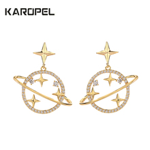 2019 New Design CZ Zircon Universe Stud Earrings Moon Pendant Star Planet Cubic For Women Jewelry