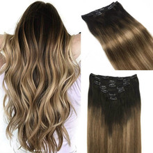 Hair Human-Hair-Extensions Clip-In Ombre Full-Head-Sets Straight Brown Natural-Black