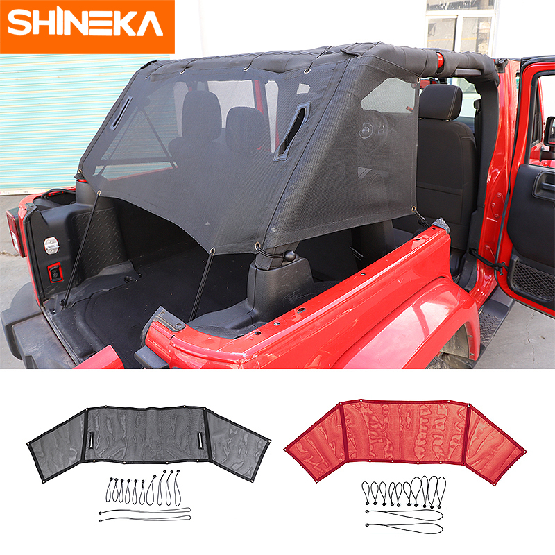 SHINEKA Car Trunk Sunshade Cover Anti UV Sun Protect Insulation Net Accessories For Jeep Wrangler JK 2007-2017 4Doors Styling