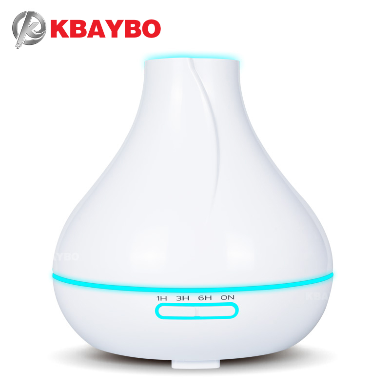 KBAYBO 400ml Flat Top Drip Humidifier White Essential Oil Aroma Diffuser 7 Color LED Option Aromatherapy Bedroom Use