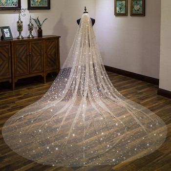 Sparkly Gold Cathedral Wedding Veil with Comb 4 Meters Long Shiny Bridal Veil Wedding Accessories One Layer Velos De Noiva