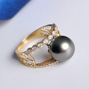 Image 4 - [YS] bague de fiançailles en or 18k, perle de tahiti, naturelle, noire, cultivée, 10 à 11mm