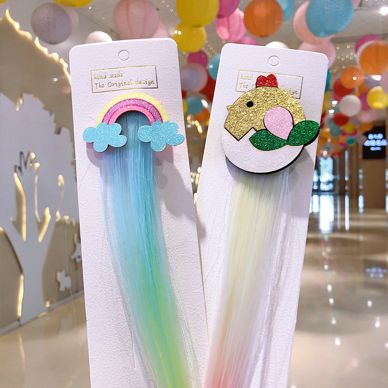 Cute Girls Hairpin Child cartoon unique wig hairpin unicorn hairpin female cute girl baby side clip bangs clip hair accessories