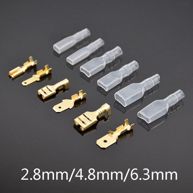 200 sztuk/100 Pairs kobieta mężczyzna Spade zaciski drut tulejowy Wrap złącze dla 22-16 AWG 0.5mm2-1.5mm2 2.8mm 4.8mm 6.3mm