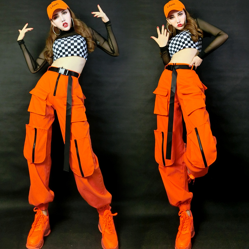 Hip Hop Costumes Adults Orange Pants Plaid Vest Street Dance Clothes Modern Stage Outfits Ladies Jazz Performance Wear DNV12425