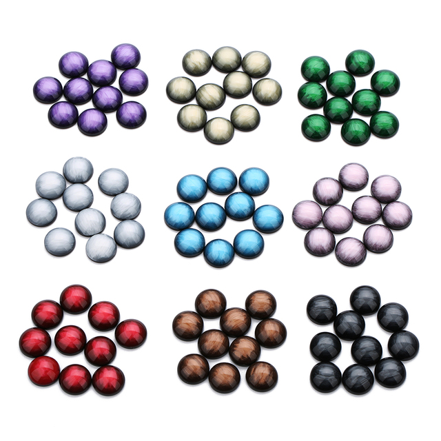 30pcs/lot 12mm Resin Round Crystal Cabochon Flatback Handmade Cabochon Fit Base Ring Pendant Setting for Jewelry Findings