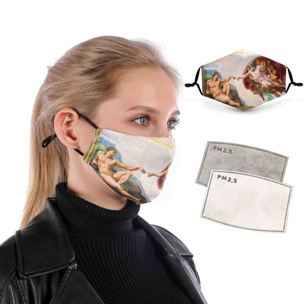 Zohra MICHELANGELO ART Printing Reusable Protective PM2.5 Filter Mouth Mask Anti Dust Face Mask Bacteria Proof Flu Mask