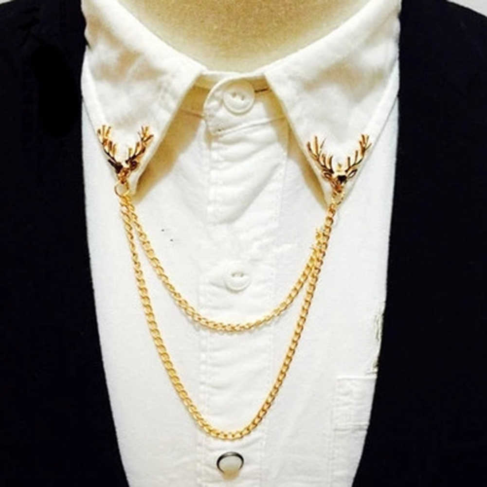 Fashion Bros Pin dengan Panjang Rantai Wanita Pria Emas Perak Warna Bros Kepala Rusa Pin Bros Pin Setelan Baju Kerah perhiasan