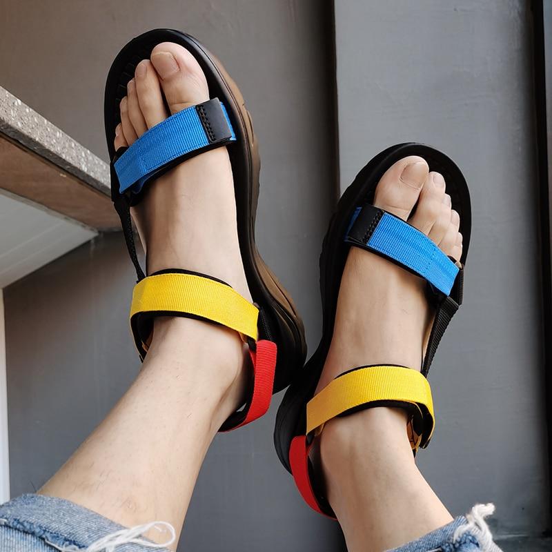 2020 New Men's Sandals Men Summer Beach Outdoor Water Shoes Large Size 45 Flip Flops Flat Light Hook Loop Casual Slippers Shoes