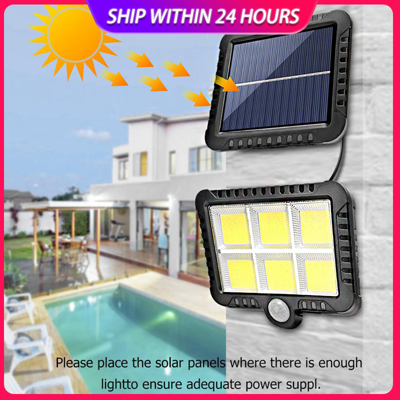 120 светодиодов COB Солнечный настенный светильник PIR датчик движения наружный водонепроницаемый Садовый Солнечный свет для уличного пути на...
