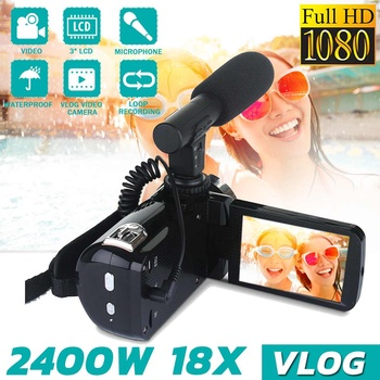 24MP HD Camcorder Digital Video Camera Night Vision 3 Inch LCD Touch Screen HDMI 18x Digital Zoom Camera with Microphone alloyseed 2 7 inch digital camera 8x optical zoom lens 24mp hd children camcorder video recorder anti shake photo dv