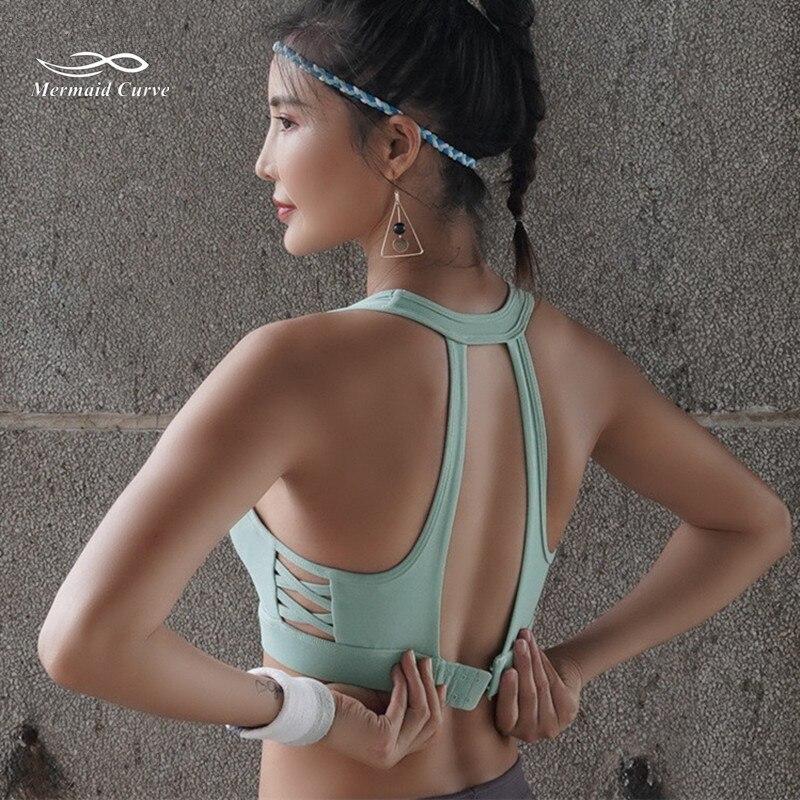Mermaid Curve New Style Side Cross Women Mesh Sports Bra Push Up Adjustable