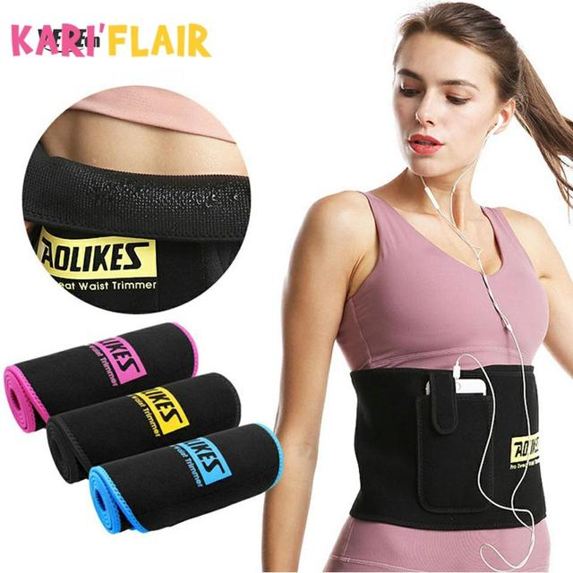 Women Slim Weight Loss Sweat Band Sports Waist Trimmer Belt Lumbar Brace Support Gym Weightlifting Training Fitness Accessories