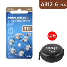 Hearing Aid Batteries Size 312 za Renata,Pack of 6,Brown Tab PR41 1.45V Type A312 AU-6nh Zinc Air Battery e p312  with Case Box недорого