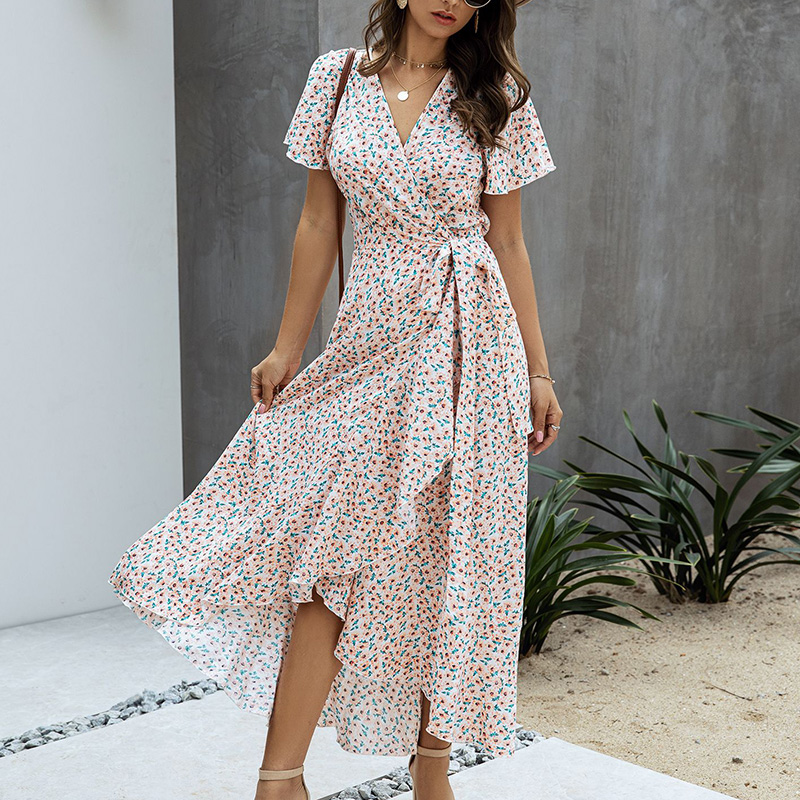 SWQZVT 2020 Fashion Short Sleeve Floral Print Women Dress New Ladies Beach Summer Dress Casual Women Long Maxi Dresses Vestidos (43)