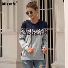Missufe Autumn Long Sleeve Leopard Sweatshirts Casual Patchwork Drawstring Loose Hoodies Pullovers Hooded Workout Women Clothing autumn casual short hoodies women white black striped hoodies womens pullovers long sleeve fashion hooded sweatshirts girl 81739