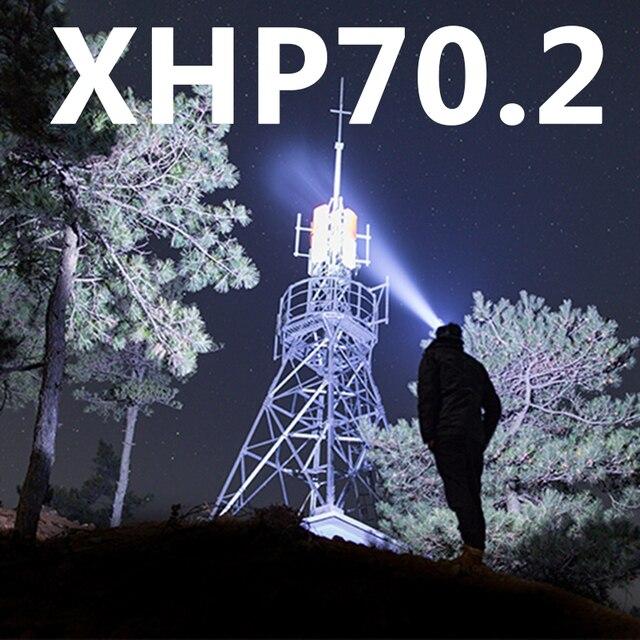 Lampe frontale à Led XHP70.2, lampe frontale avec zoom, batterie Z90 + batterie externe, 7800, 18650, nouvel arrivage
