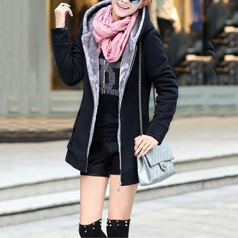 2019 Fashion Herfst Winter Vrouwen Lange Mouw Kapmantel Warm Thicken Rits Uitloper Hoodies Vrouwelijke Jassen