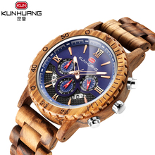 KUNHUANG New Fashion Wood Men Sports Watch Craft Blue 3 Sub Dial Chronograph Date Wooden Strap Quartz Watches Relogio Masuclinio цена и фото
