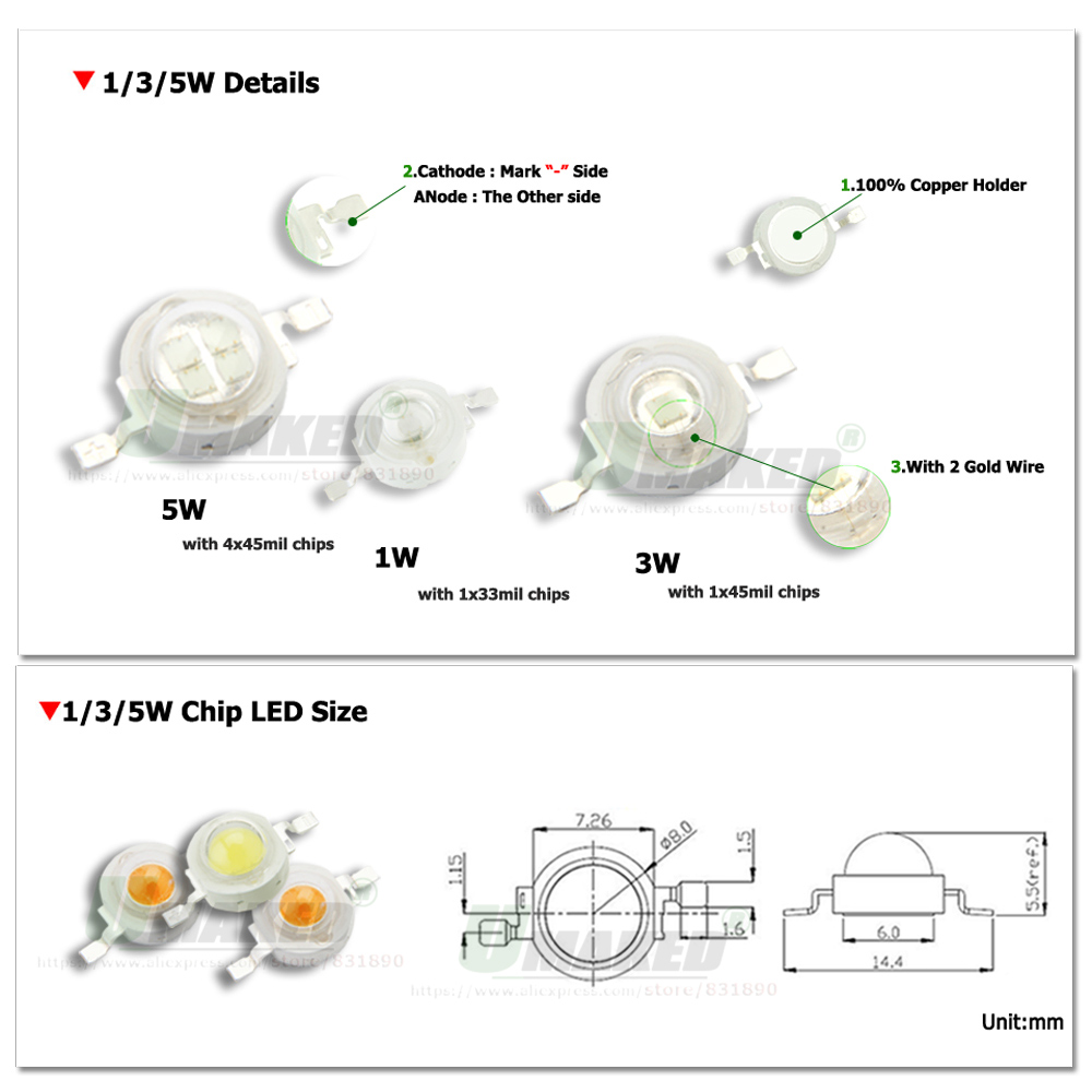 Wholesale High Power 1W 3W 5W White Red Green Blue Light Beads LED Bulb Chip