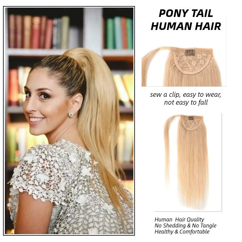 MW Blonde Clip In Human Hair Ponytail Extensions 12/16/20 Inches Natural Straight Hair Piece Wrap Around Pony Tail For Women