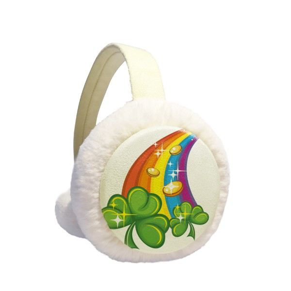 Clover Rainbow Ireland St.Patrick's Day Winter Earmuffs Ear Warmers Faux Fur Foldable Plush Outdoor Gift