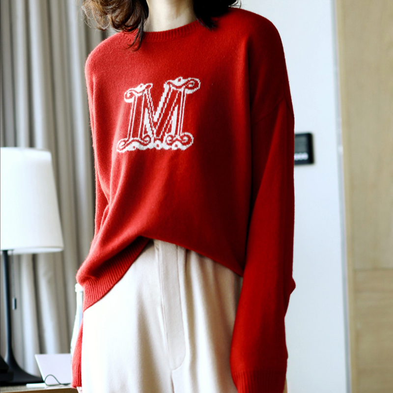 MVLYFLRT Spring And Autumn Pullover Cashmere Sweater Women Short Thick O-neck Sweater Loose Large M Letter Sweater