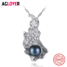 AGLOVER New 925 Silver Necklace 8-8.5MM Pearl Pendant Women Jewelry Link Natural Freshwater Pearl Chain Necklace Christmas Gift