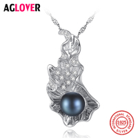 AGLOVER New 925 Silver Necklace 8 8.5MM Pearl Pendant Women Jewelry Link Natural Freshwater Pearl Chain Necklace Christmas Gift