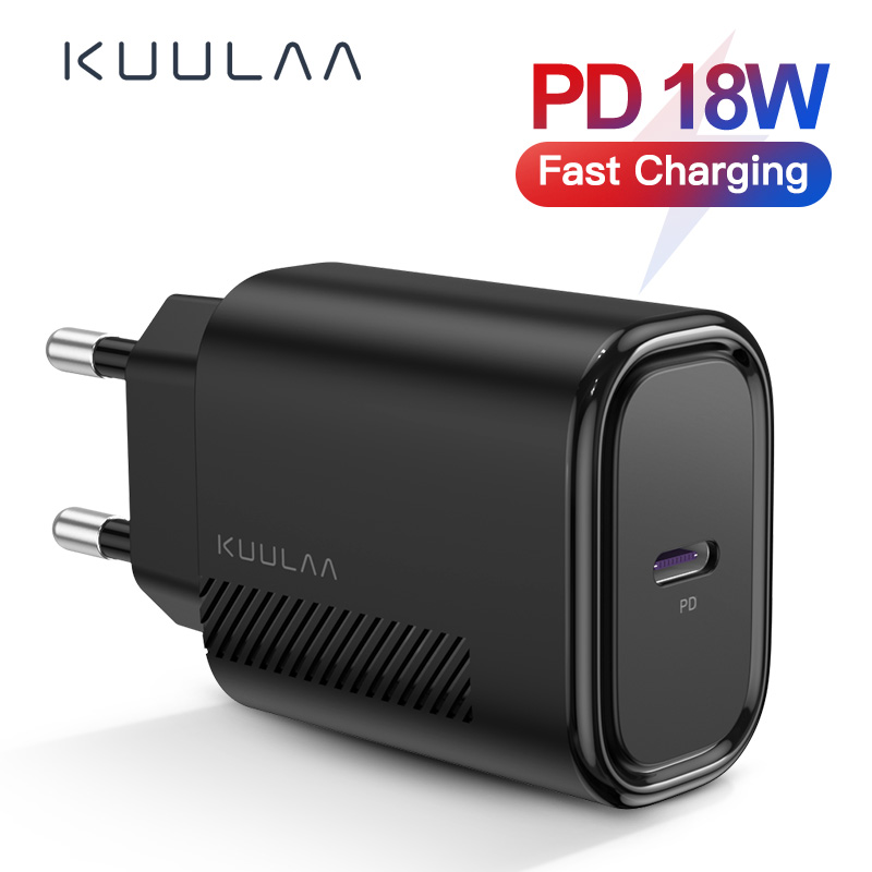 KUULAA USB Charger 18W PD 3.0 Quick Charge 4.0 Fast Charging USB C Plug Mobile Phone Charger For IPhone 11 Pro Max XS XR X 8