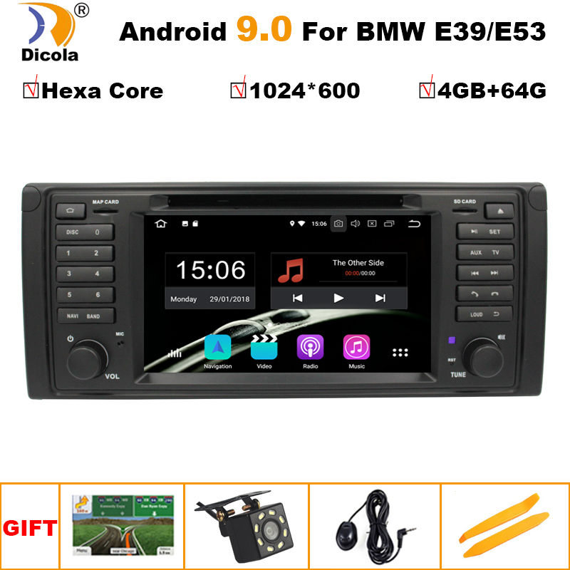 PX6 <font><b>1</b></font> <font><b>Din</b></font> <font><b>Android</b></font> 9 Auto <font><b>Radio</b></font> For BMW/E39/X5/E53 Hexa Core <font><b>RAM</b></font> <font><b>4GB</b></font> ROM 64GB GPS <font><b>Car</b></font> Multimedia Stereo System DSP DVD USB DVR image
