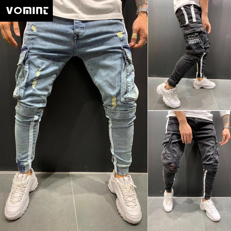VOMINT 2020 New Men Skinny Jeans Ripped Jeans Destroyed Frayed Mid Slim Fit  Denim Pants Mens Jean Pant Long Trouser
