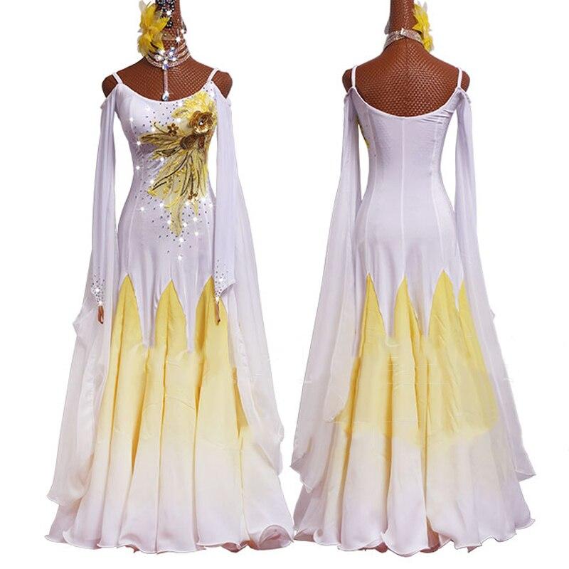 Ballroom Dresses Standard Long Sleeve Dress White Waltz Dress Tango Stage Performance Ballroom Dance Competition Dress BL2683