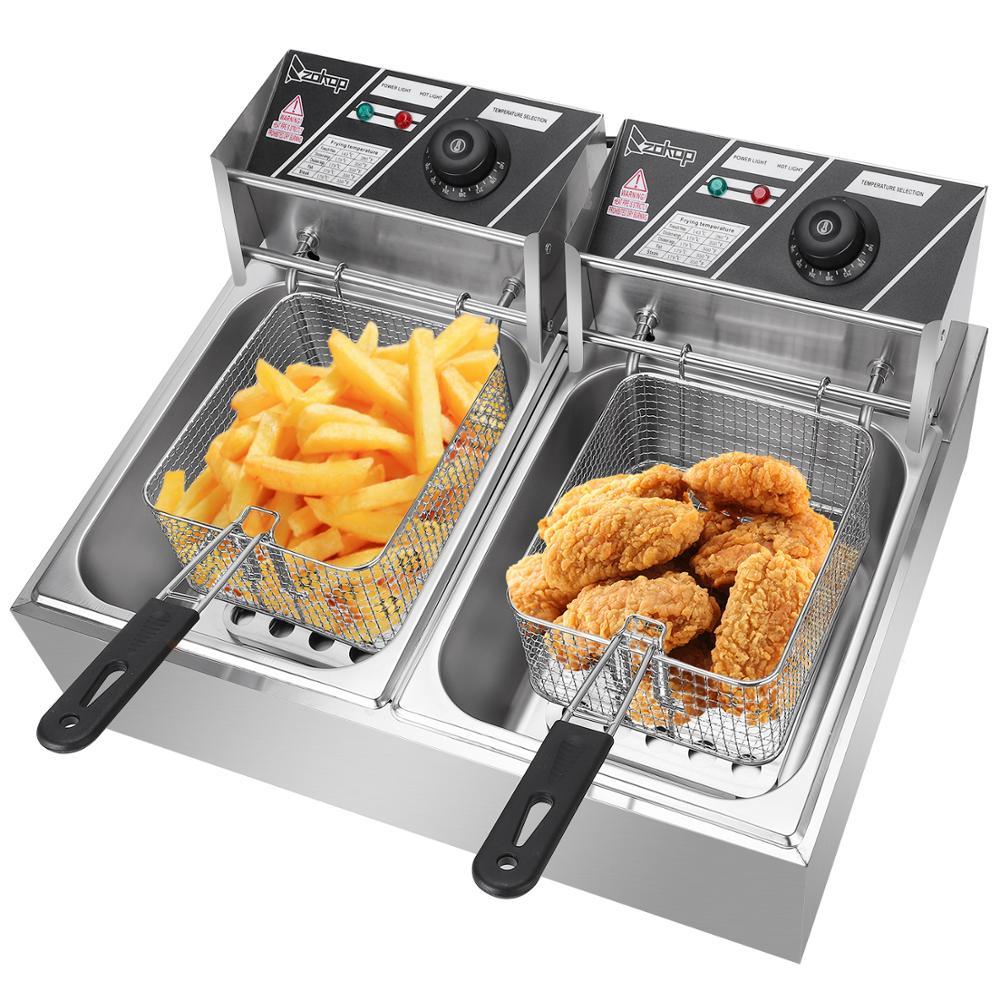Double Machine simple de cylindre de friteuse électrique d'acier inoxydable avec la grosse friture commerciale d'huile de grande capacité