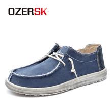 OZERSK gorąca sprzedaż buty wiosenne jesienne płaskie buty męskie męskie wkładane mokasyny jazdy płótnie mężczyźni obuwie moda wygodne obuwie tanie tanio Denim Przypadkowi buty RUBBER Lace-up Pasuje prawda na wymiar weź swój normalny rozmiar Buty łodzi Wiosna jesień SK101102