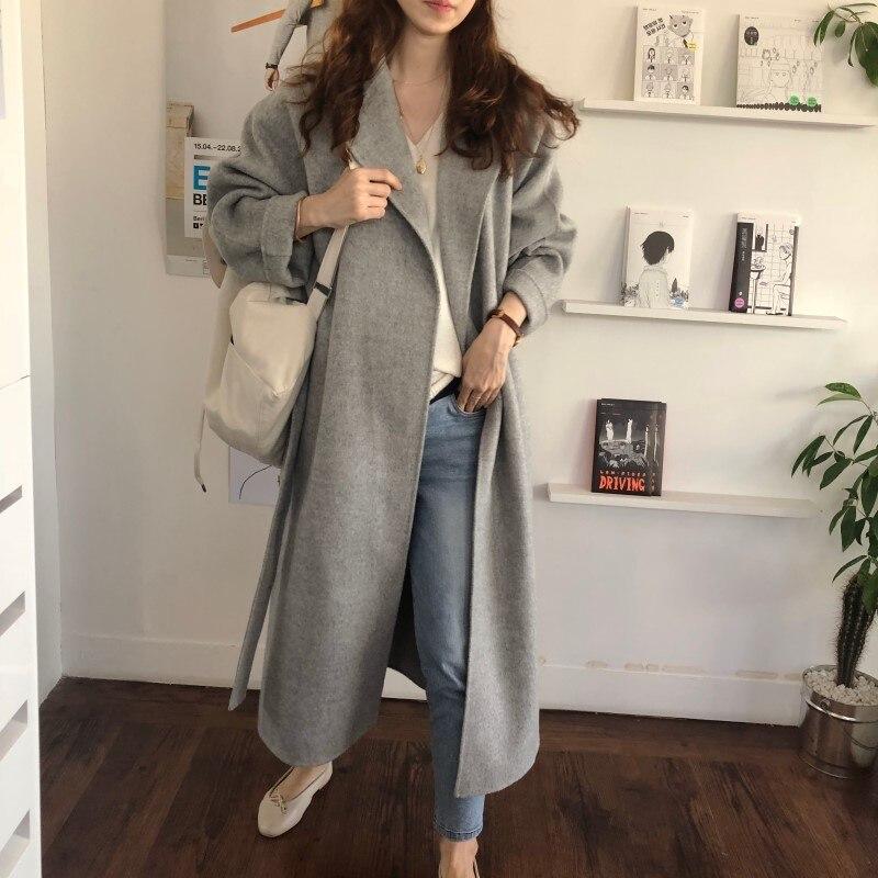 19 Winter Oversize Long Trench Coat Women Cashmere Coat Korean Lady Windbreaker Outwear Streetwear 45